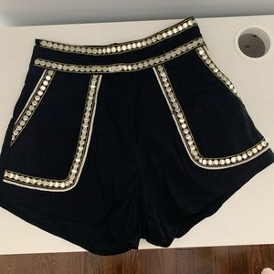 Black Twill Detailed Shorts
